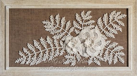 Irish Crochet Applique Muster Mohn Blume mit Farn Blatt | Etsy