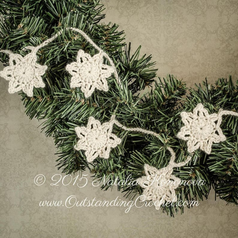 Tutorial PDF Antique Style Christmas Garland Crochet PATTERN Step-by-Step Photo