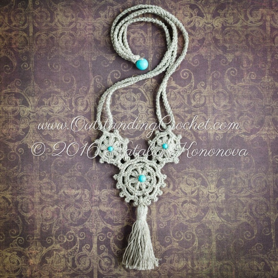 Make Your Own Tassel Necklace: Medieval Crochet Necklace PATTERN Beaded With Tassel DIY