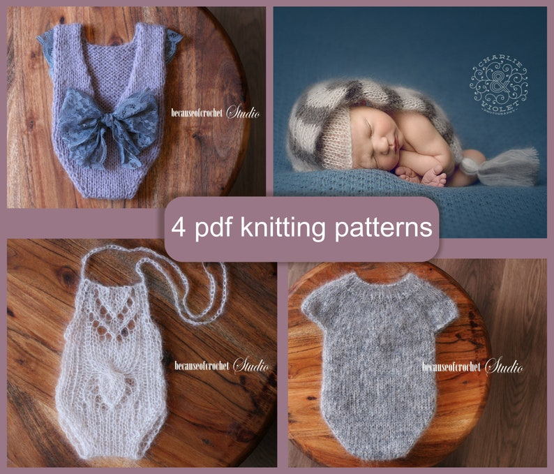 a601a3fa9f0 4 PDF Knitting PATTERNS Newborn prop baby rompers and hat.