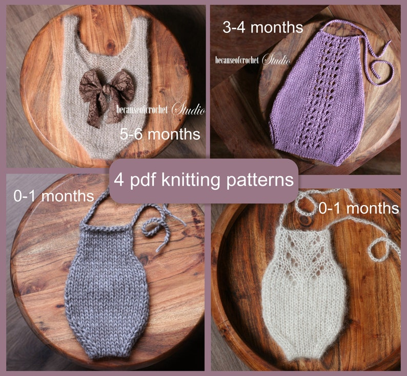4 Pdf Knitting Patterns Baby Rompers Knitted With Straight Etsy