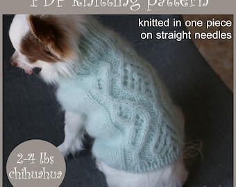 2 PDF Knitting PATTERNS – Toy Chihuahua Aran sweater + Basic sweater. Dog weight 2-4 Ibs (1-2 kg). Written in US terms.