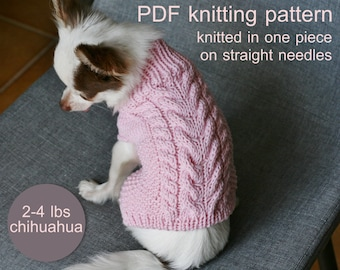 PDF Knitting PATTERN – Toy Chihuahua braided sweater. Dog weight 2-4 Ibs (1-2 kg). Written in US terms. Skill level: Intermediate.