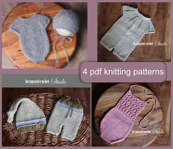 4 Pdf Knitting Patterns Newborn Baby Rompers Pants And Etsy