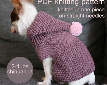 PDF Knitting pattern - Toy Chihuahua hooded sweater. Knitted in one piece on straight needles. Written in US terms. Skill level: Intermedi