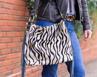 Beautiful Zebra Bucket Bag with Fringe