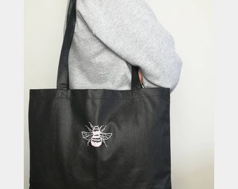 Embroidered Bee on a Black Canvas Tote Bag-Embroidered Tote Bag-Embroidery Tote  Bag- Black Shoulder Bag-Black Tote Bag-Bee Tote Bag-Bee Bag ee0e6a4ca9