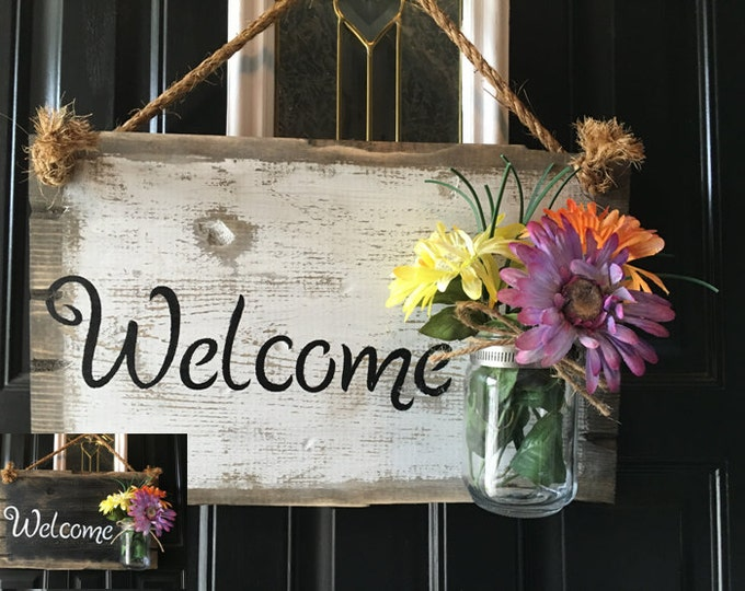 Mason Jar Decor, Mason Jar Welcome Sign, Welcome Door Sign, Front Door  Rustic