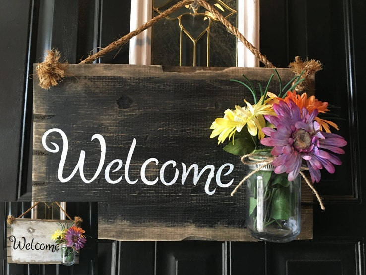 Front Door Welcome Sign, Front Porch Welcome Sign, Rustic Wood Welcome  Sign, Distressed Wood Welcome Door Sign, Rustic Welcome Door Sign