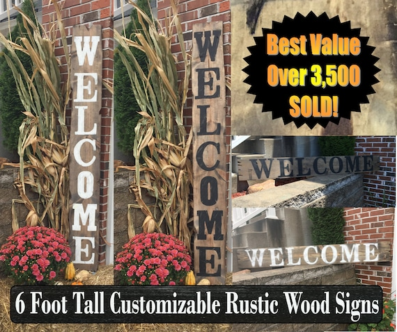 Welcome Sign Rustic Wood Welcome Sign Front Door Welcome Sign Vertical Welcome Sign Welcome Sign Porch Large Welcome Sign Home Decor