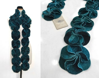 Fall scarf, floral scarf, felted wool, autum scarf, winter wrap, long scarf, chunky scarf, merino wool, gift for her, ana livni
