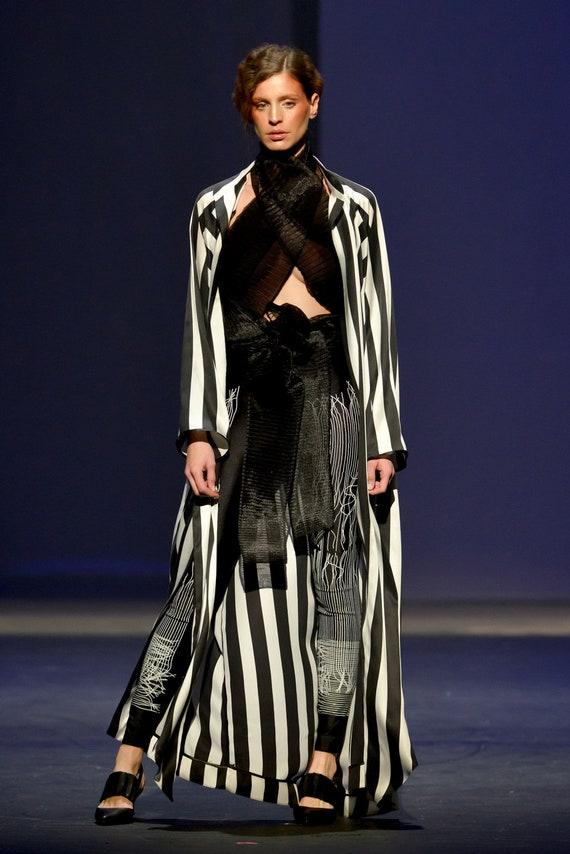 a3ddbc29391 Striped silk tunic dress Boho chic gown Black and white kimono | Etsy