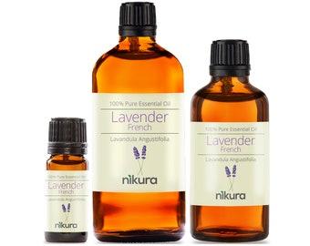 Nikura - Lavender (French) Essential Oil Pure & Natural - 10ml, 20ml, 30ml, 50ml, 100ml, 200ml, 500ml, 1 Litre