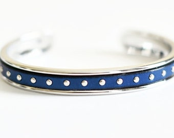 Blue Studded Leather Bangle