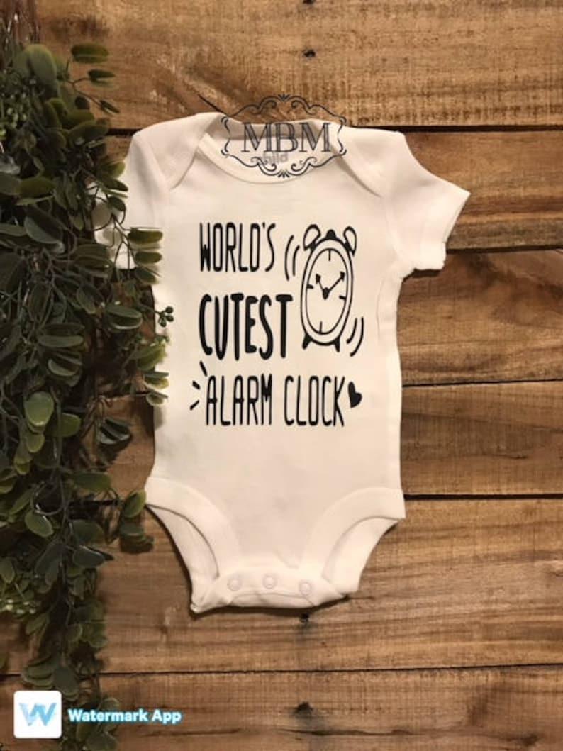Worlds Cutest Alarm Clock Personalized Long Sleeve Baby Vests Bodysuits Unisex