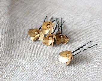 Dark gold hydrangea hair pin Golden flower hair pins Floral hair clips Dark Gold flower pin Hydrangea hair clip Clay flower hair pins