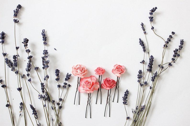 Coral flower hair pin Wedding hair piece Bridal headpiece Paper flower hair pin Pink flower hair pin Wedding hair accessories
