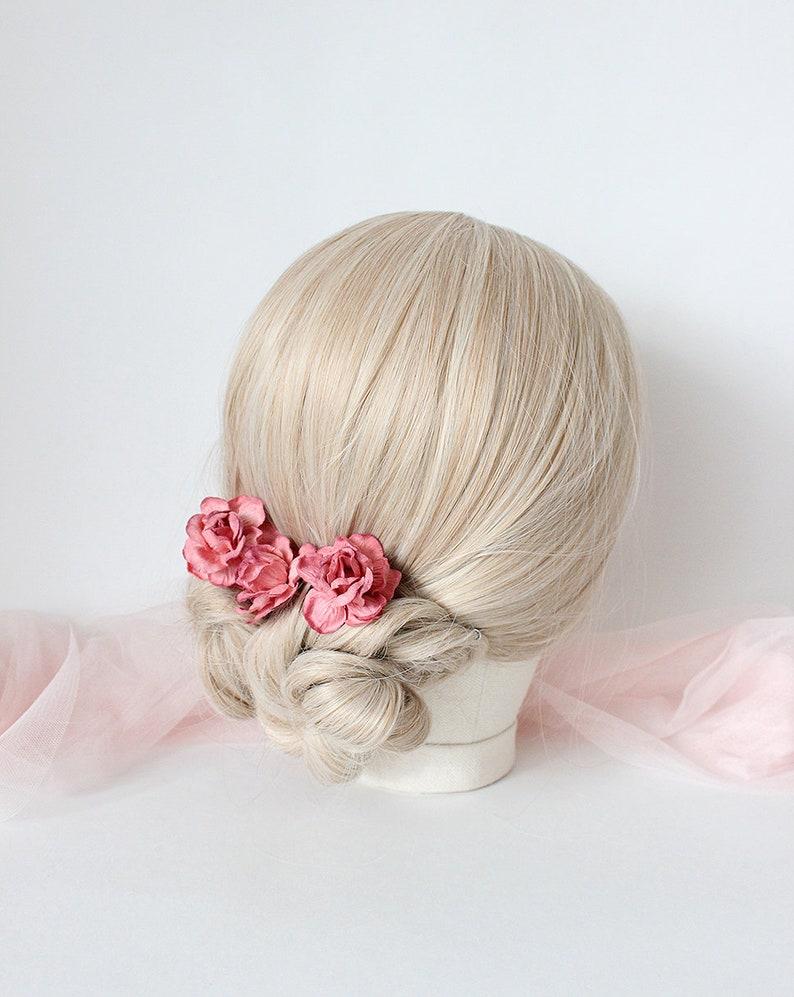 Rose hair pin Flower hair pin Wedding hair pin Bridal hair pin Wedding hairpiece Bridal headpiece Bridesmaid hair pin Garden wedding