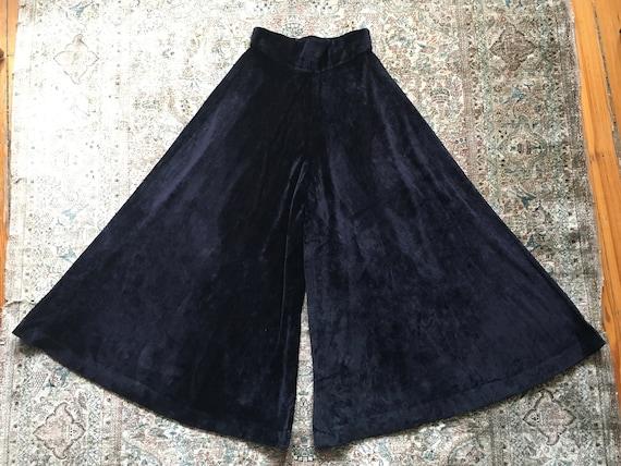 Vintage 1970s Glam Black Velvet High-waisted Wide… - image 3