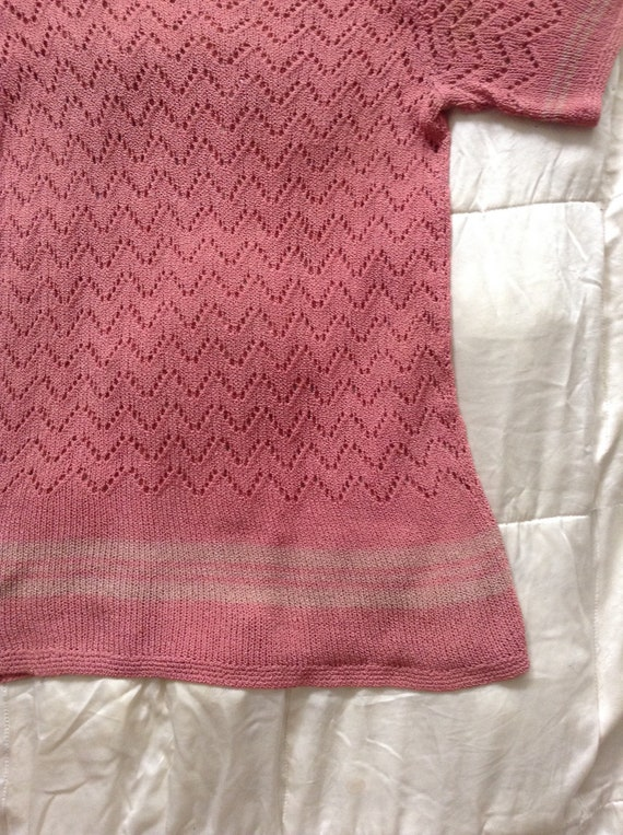 Vintage 1930s Pink Stripe Deco Knit Sweater