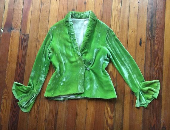 Vintage 1930s Arsenic Green Silk Velvet Opera Jack