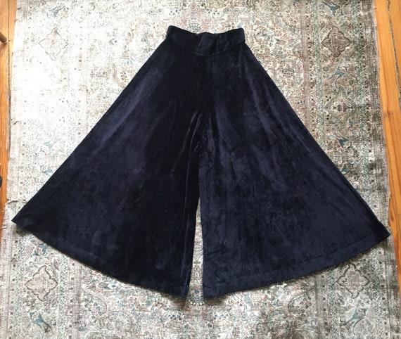 Vintage 1970s Glam Black Velvet High-waisted Wide… - image 1