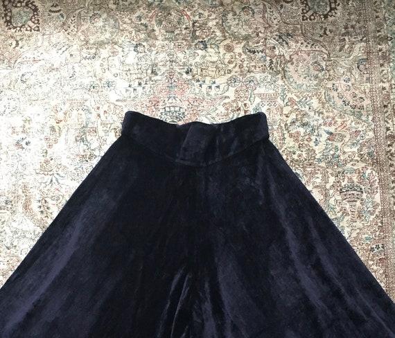 Vintage 1970s Glam Black Velvet High-waisted Wide… - image 2
