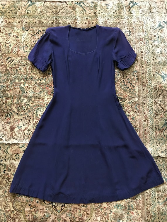 Vintage Early 1940s Midnight Rayon Dress with Side