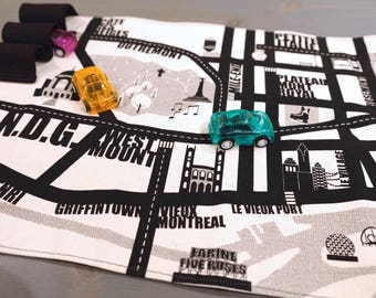 mini portable play mats, Montreal city car circuit, keeping the kids busy at the restaurant.