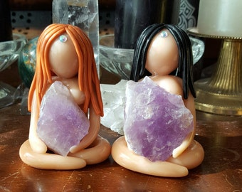 Gemstone Goddess Amethyst/Amethyst Crystal Goddess/Amethyst Goddess Statue/Amethyst Altar Goddess/Meditation/Spirituality/Peace/Protection