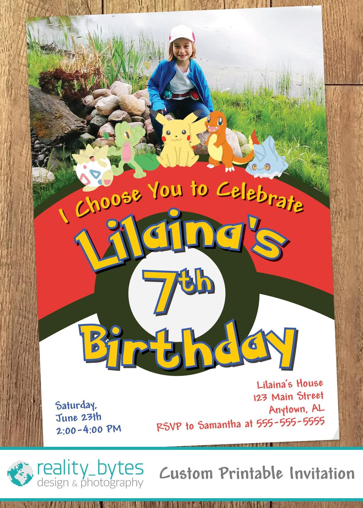 Pokémon Birthday Invitation with Photo Printable | Etsy