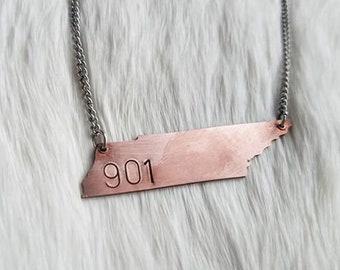Custom Tennessee Necklace Zip Code Memphis 901 Area
