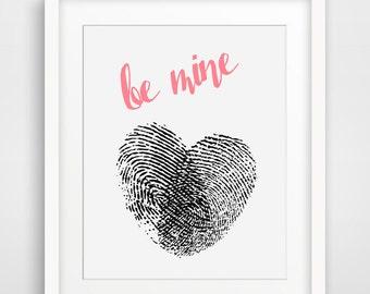 Fingerabdruck Herz Schwarz Weiss Liebe Kunst Mein Valentin Etsy