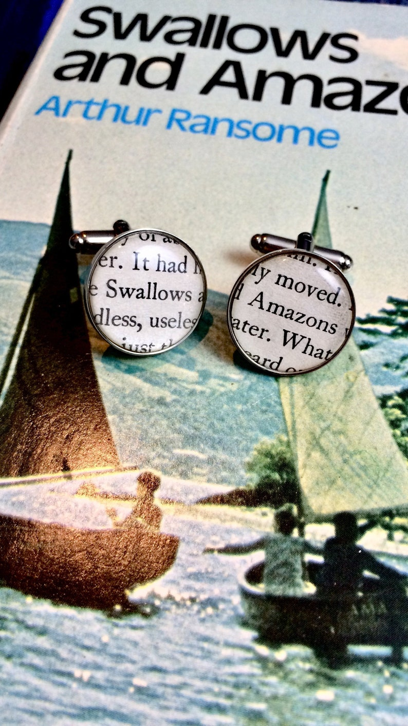 Swallows and Amazons cufflinks  Vintage Recycled book. image 0