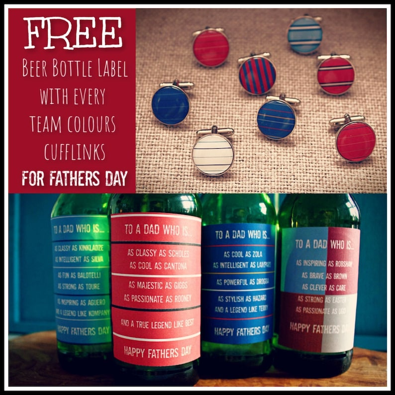 Football Rugby Fan Gift for Dad FATHERS DAY OFFER Hogwarts Gryffindor Ravenclaw Sports Team Cufflinks with Free Beer Bottle Label