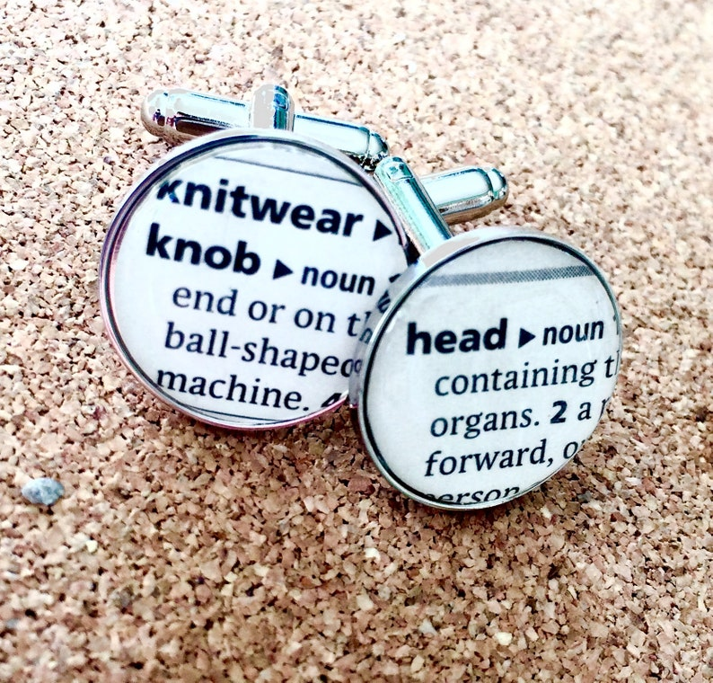 Bespoke Cufflinks great gift for him Personalised for your needs Recycled Dictionary Cufflinks