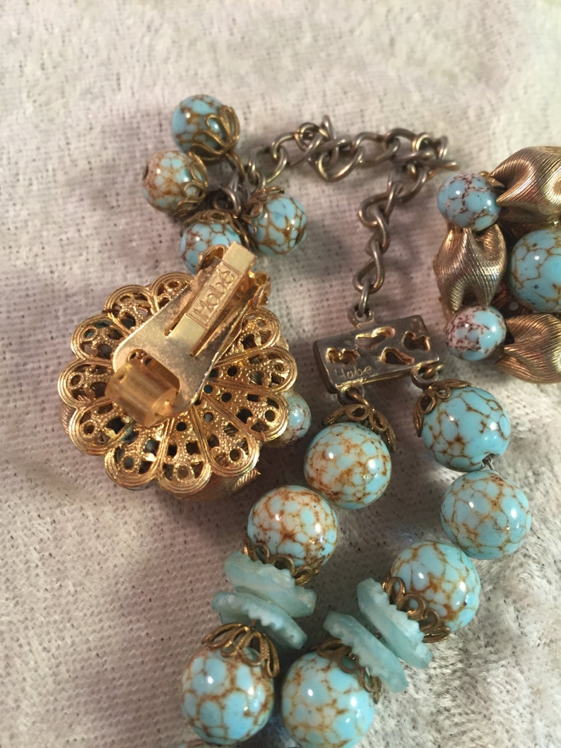 SUPERB Vintage Hob\u00e9 Demi Parure of Faux Turquoise Cracked Artglass Beads with AB Rhinestone Rondelles and Filigree Caps 380881 Chrysocolla