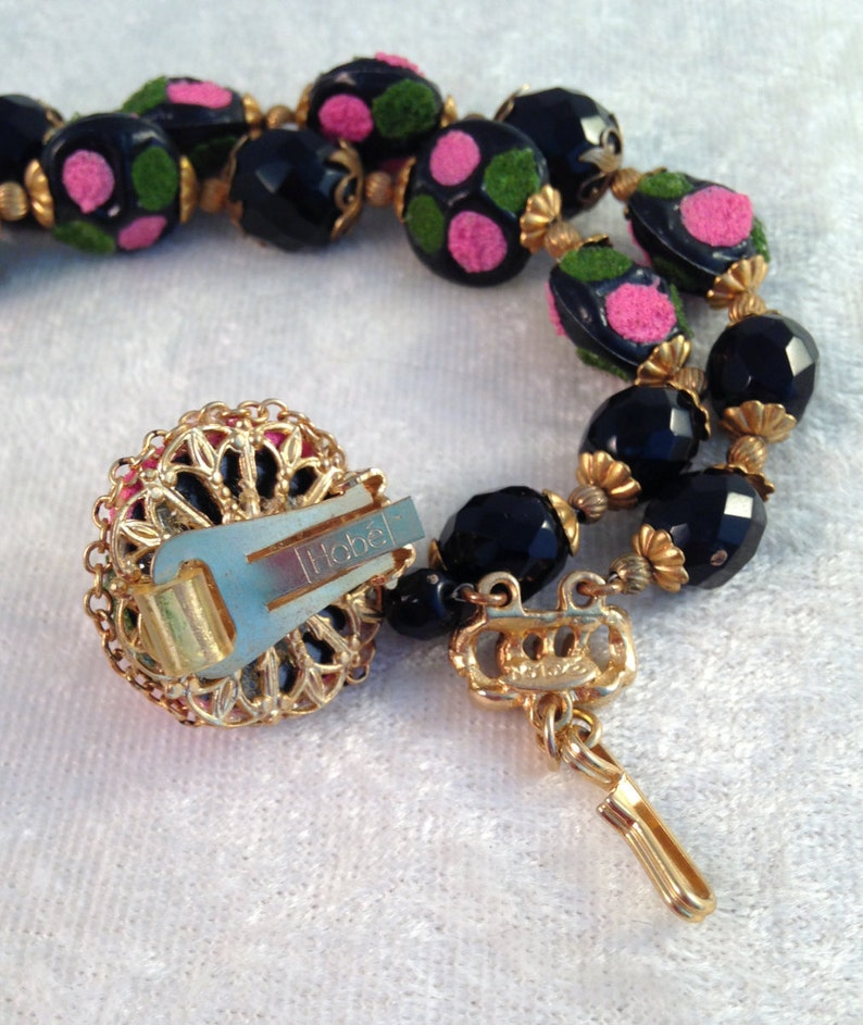 546 Necklace Earrings Old Hob\u00e9 Demi Parure of Faceted Jet Black Glass and Pink  Green Painted Beads
