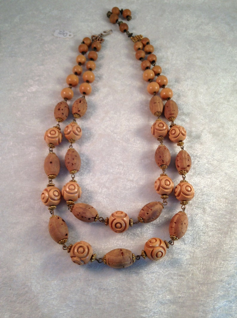 Necklace Earrings Vintage Hob\u00e9 Demi Parure of Cork  Wooden Lucite Beads with Filigree Caps 144