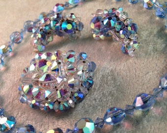 Sparkling Blue Hobé Crystal Parure of AB Faceted Glass Beads (Necklace Earrings and Brooch) A SHIMMERING Rainbow of Color ! 113131747