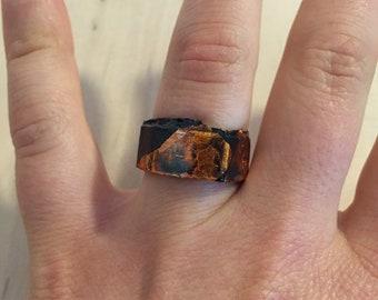 Black Cardboard Ring, Black and Copper Color, Size 52