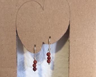 Long Hook Wire Silver Earrings with Red Jasper
