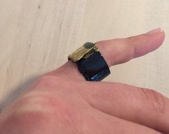 Black Cardboard Ring, Black and Gold Color, Size 53