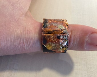 Black Cardboard Ring, Black and Copper Color, Size 63