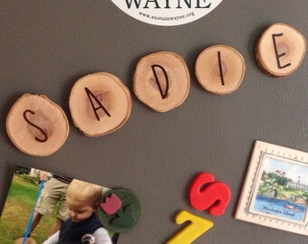 personalized wooden name magnets
