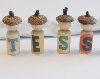 Customized name peg dolls, personalized name recognition activity
