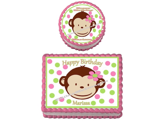 Mod Monkey Baby Shower Birthday Party Edible Imagecake Topper Etsy