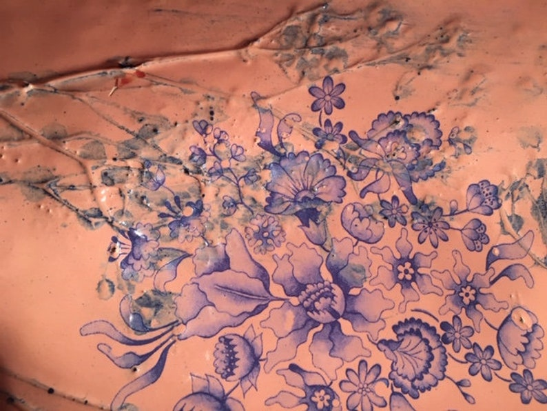 Blue and pink ceramic platter. Pink vintage bowl series Blue flowers