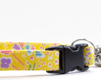 Yellow Cat Collar, Cat Collar, Breakaway Cat Collar, Kitten Collar, Large Cat Collar, Safety Cat Collar, Cute Cat Collar, Flower Cat Collar