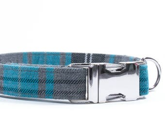 Blue Dog Collar, Plaid Tartan Collar, Plaid Dog Collar, Blue Plaid Dog, Metal Buckle Collar, Christmas Collar, Dog Collar for Boys, Male Dog